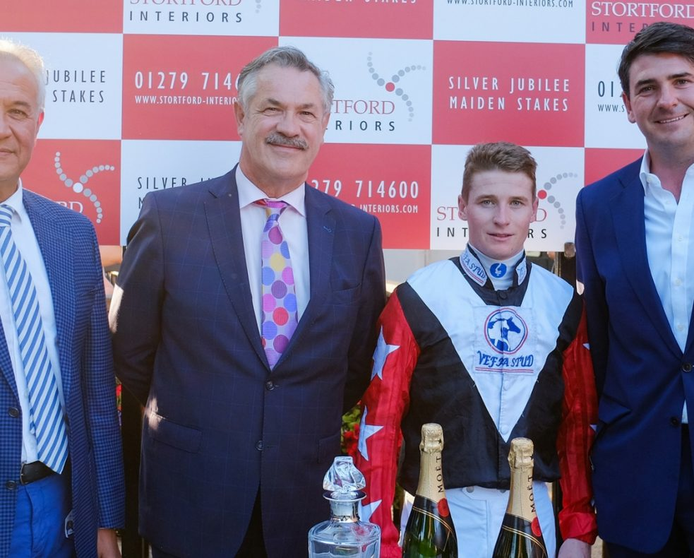 Stortford Interiors' Chairman Jim Nania (centre left) with Crimean Tatar owner Vefa Ibrahim Araci (left), winning jockey James McDonald (centre right) and trainer Hugo Palmer (right)